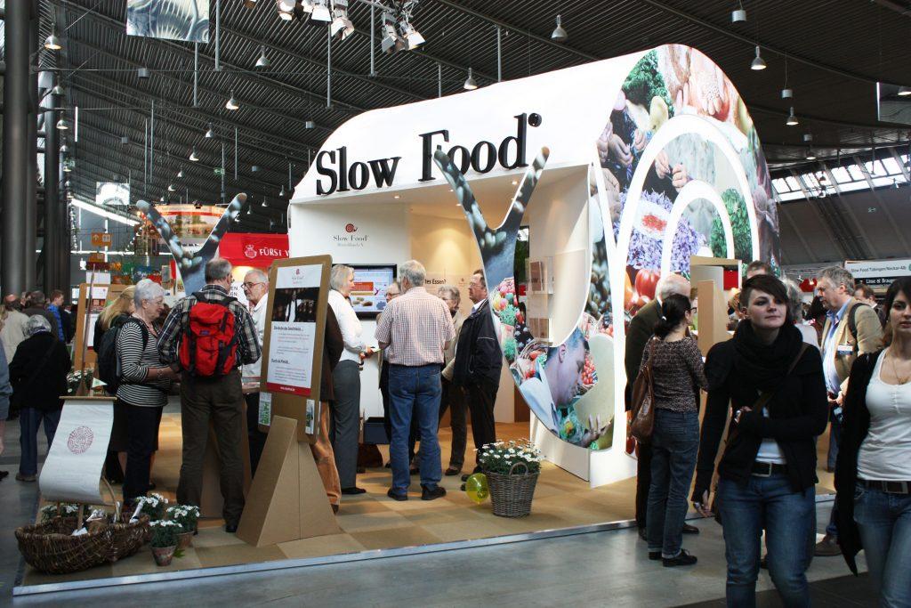 Slow-Food-Messestand auf dem Markt des guten Geschmacks - die Slow Food Messe in Stuttgart